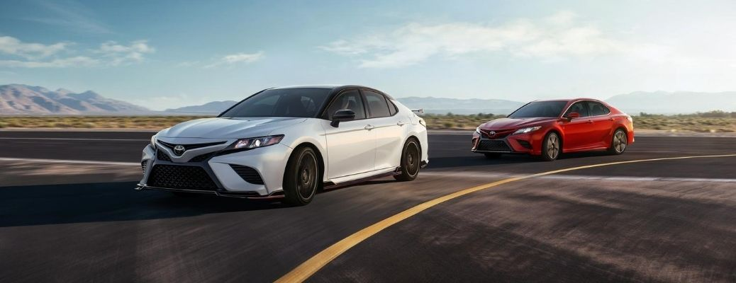 Exterior view of two 2020 Toyota Camry models