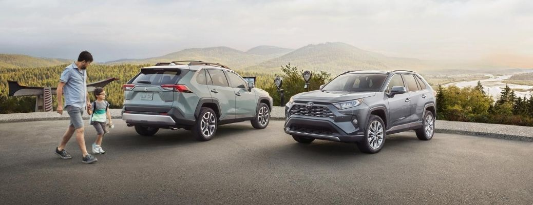 Exterior view of two 2020 Toyota RAV4 models