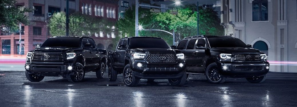 2021 Tundra, Tacoma and Sequoia Nightshade Editions parked in lot at night