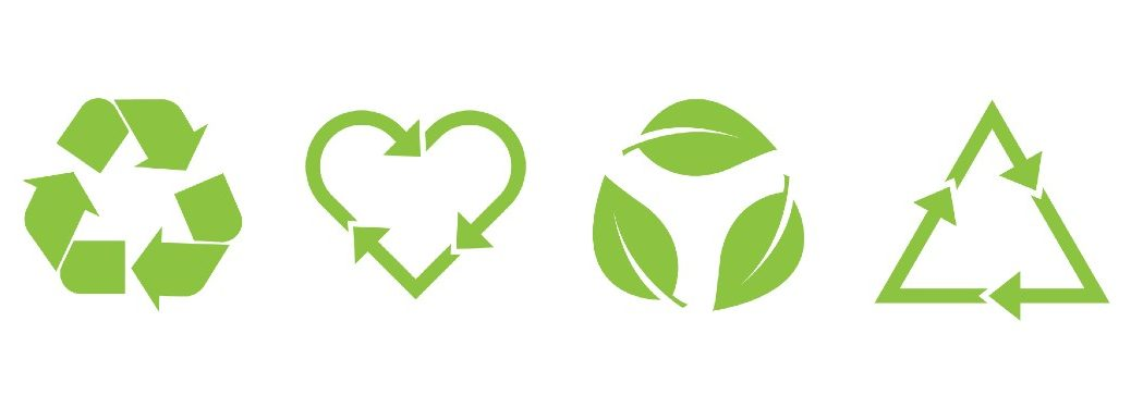 four green recycling logos with different items as the arrows