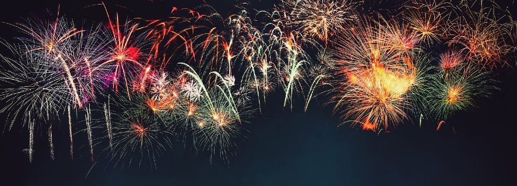 large fireworks show with bright colors