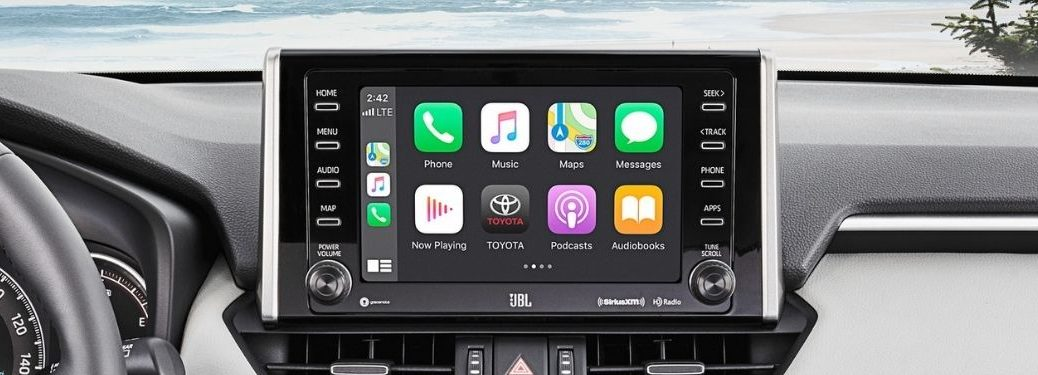 Close Up of 2021 Toyota RAV4 Touchscreen Display with Apple CarPlay