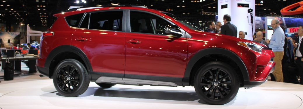 red 2018 Toyota RAV4 on display at 2017 Chicago Auto Show