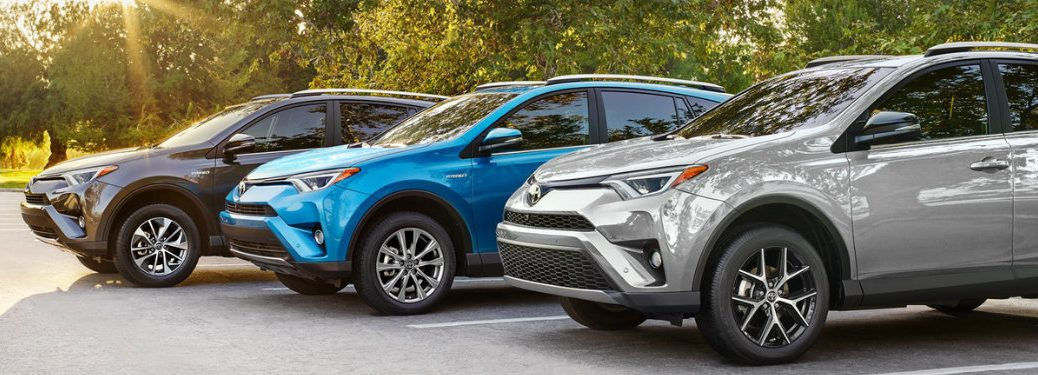 2018 Toyota RAV4 models lined up in a row
