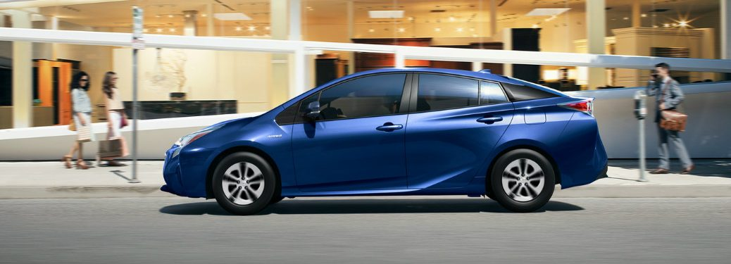 blue 2018 Toyota Prius side view