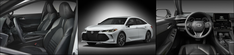 collage of the 2019 Toyota Avalon exterior and interior