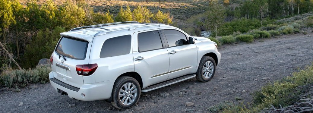 white 2018 Toyota Sequoia back side view