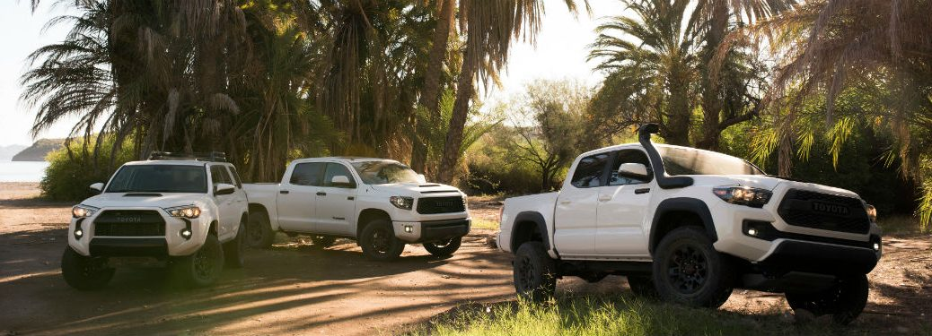 2019 Toyota TRD Pro vehicles exteriors front fascias and passenger sides 4Runner drivers side