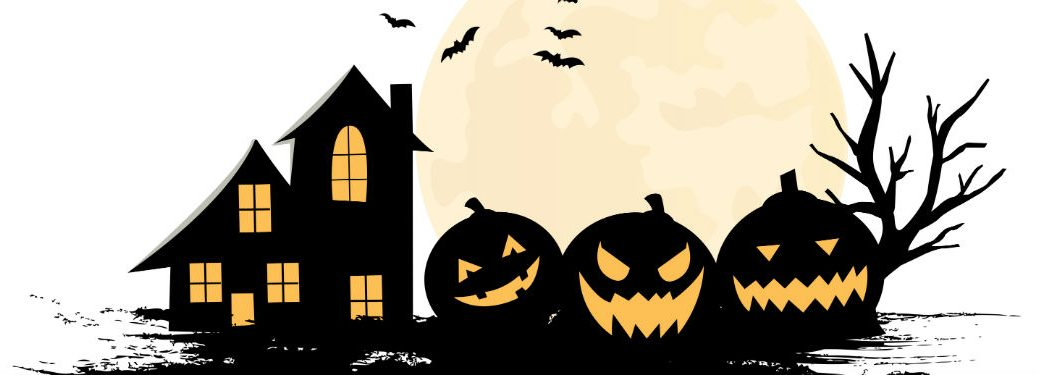 Creepy house and pumpkins silhouettes