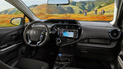 2019 Toyota Prius C interior front cabin steering wheel and dashboard