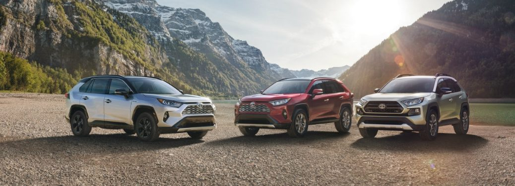 three 2019 rav4 parked