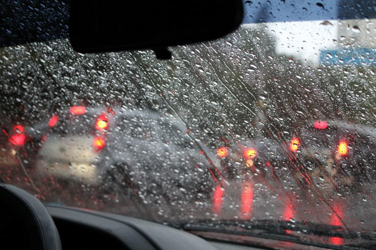 rain drops on cars windshield