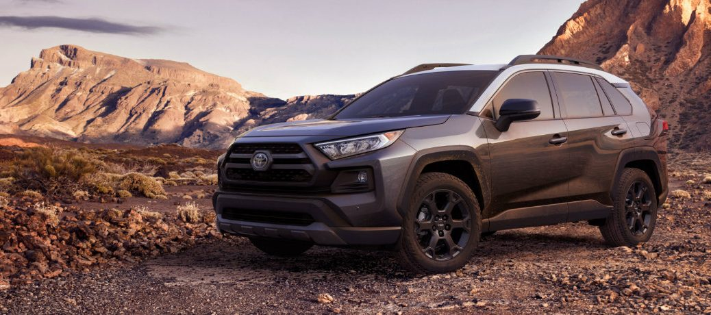 Exterior view of a gray 2020 Toyota RAV4 TRD