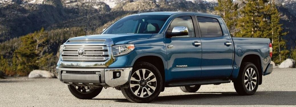 2020 Toyota Tundra in Cavalry Blue by scenic mountain terrain