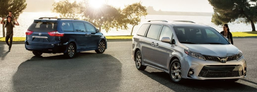 2020 Toyota Sienna models parked along water