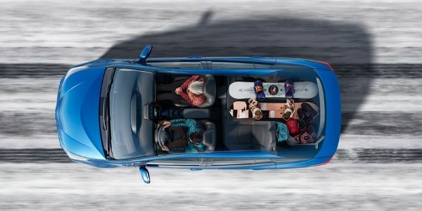 Overhead Cutaway View of 2020 Toyota Pirus on a Snowy Road