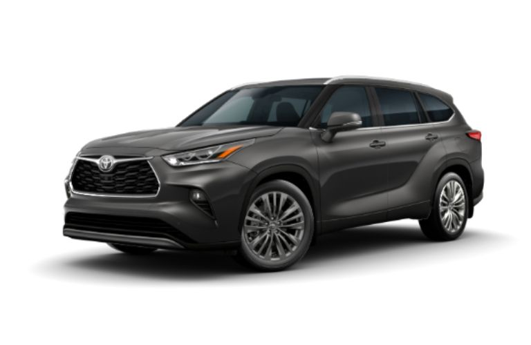 2020 Toyota Highlander in exterior color Magnetic Gray Metallic