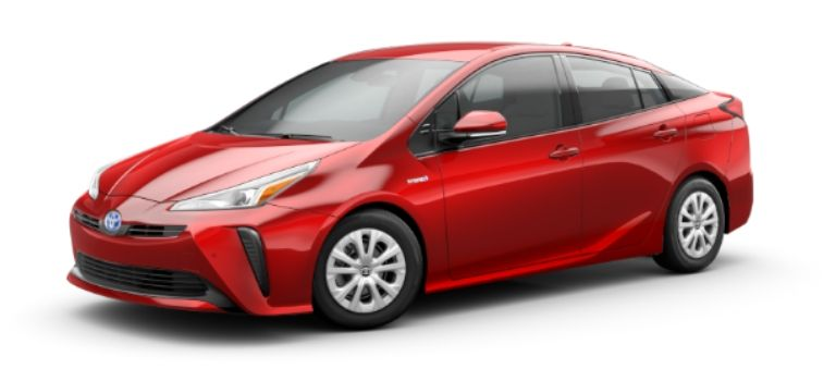 2020 Toyota Prius in exterior color Supersonic Red