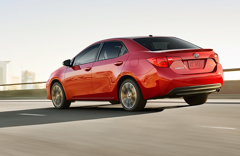 red 2018 toyota corolla rear view