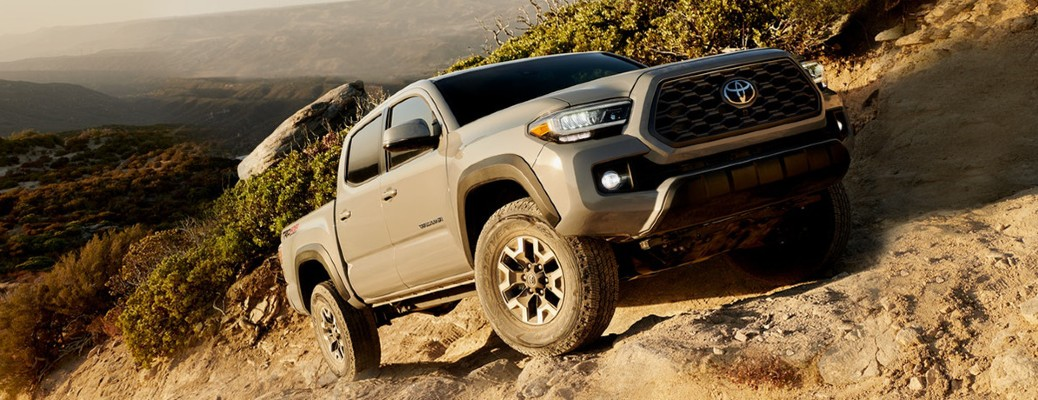 2020 Toyota Tacoma front view on an incline
