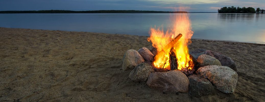 Campfire near the water