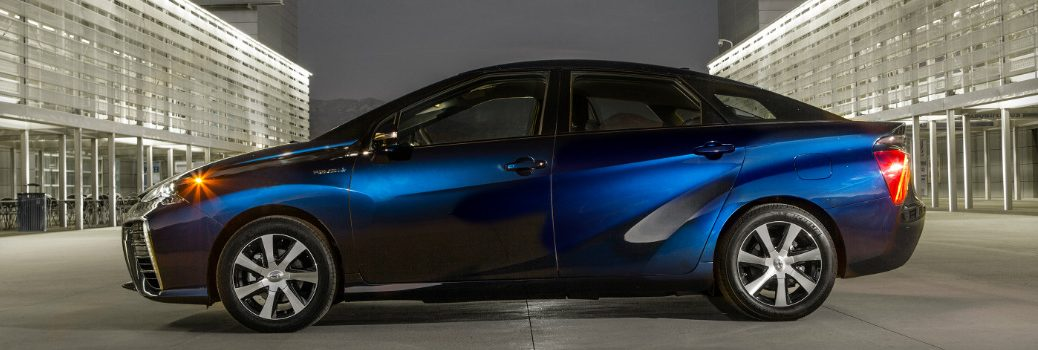 Side View of Blue 2017 Toyota Mirai