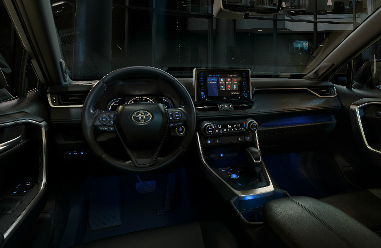 Steering Wheel, Gauges, and Touchscreen of 2019 Toyota RAV4
