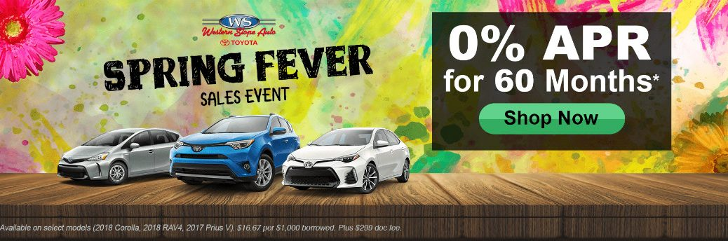 Western Slope Toyota Spring Fever Sales Event Title and Toyota RAV4, Corolla, and Prius V