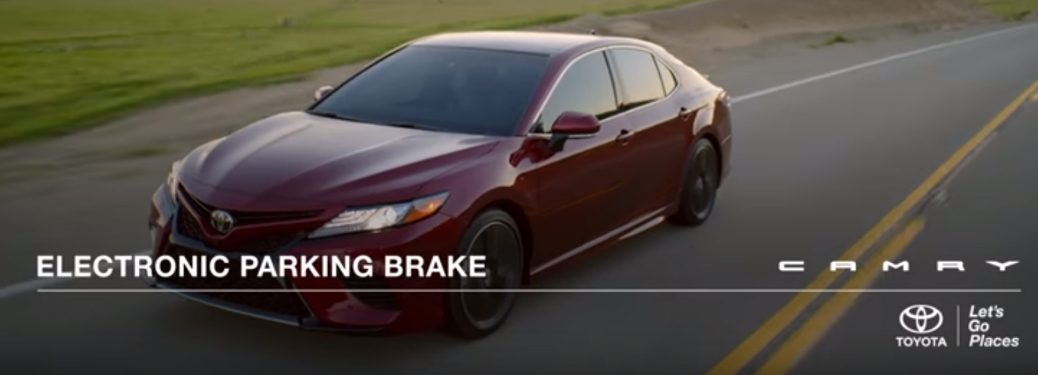 Electronic Parking Brake Title and Maroon 2018 Toyota Camry