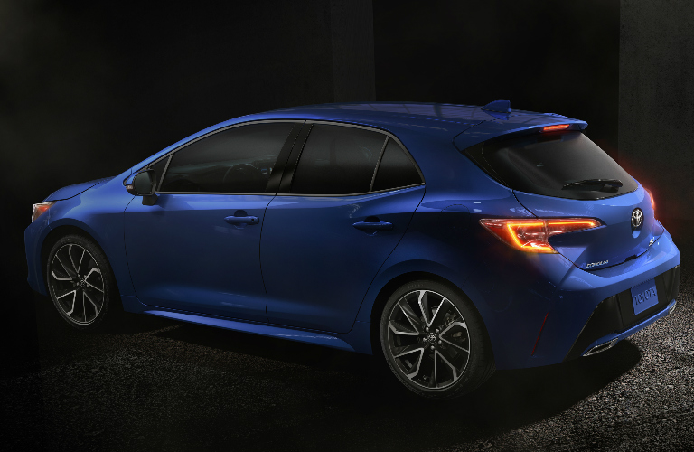 Side View of Blue 2019 Toyota Corolla Hatchback