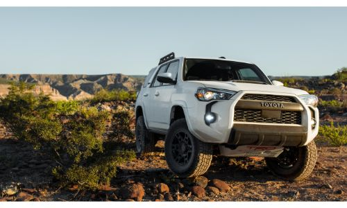 2020 Toyota 4Runner white paint TRD crock crawling from front view