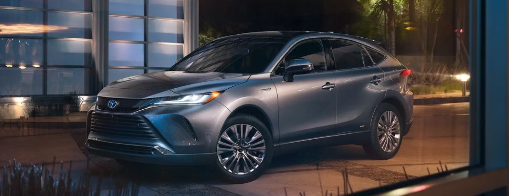 2021 Toyota Venza parked at night outside building