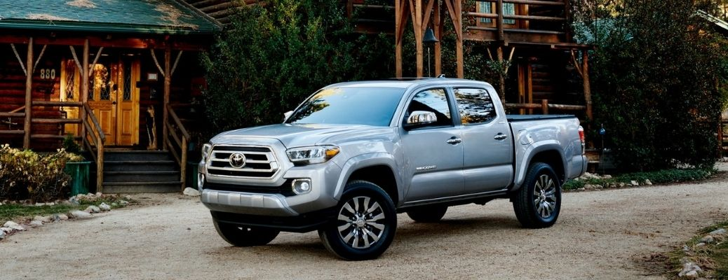 2021 Toyota Tacoma Silver Sky Metallic parked outside the house