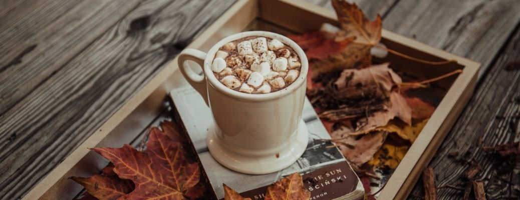 A mug of marshmallow hot chocolate on a table