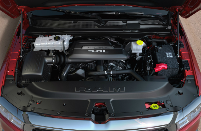 3.0-liter V-6 EcoDiesel engine in red 2020 Ram 1500