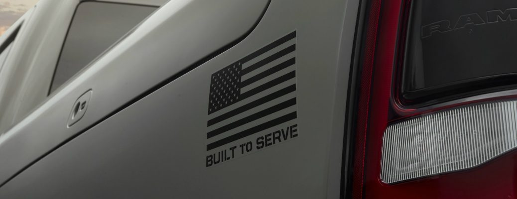 Built to Serve Badge on grey Ram Built to Serve Edition truck