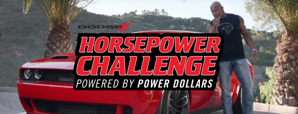 Dodge Horsepower Challenge title and a man standing next to a red Dodge Challenger