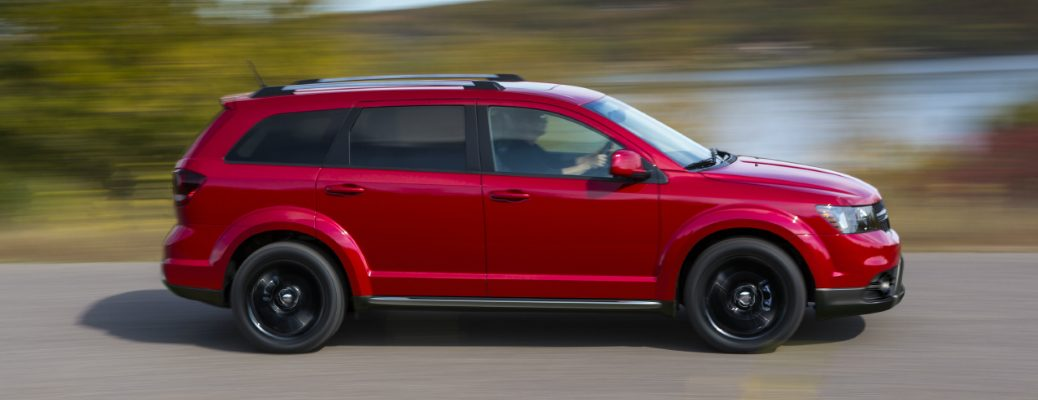 Side view of red 2020 Dodge Journey