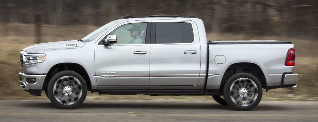 Side view of silver 2020 Ram 1500