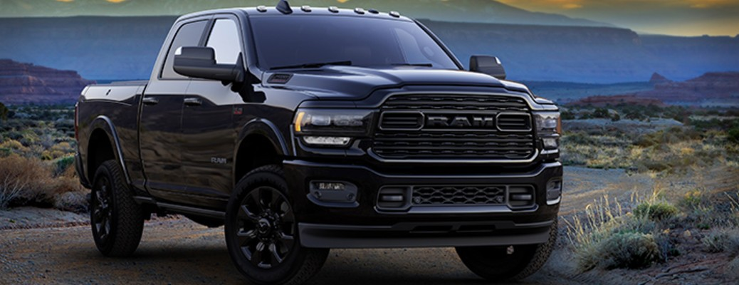 Passenger's side front angle view of 2020 Ram Heavy Duty Limited Black