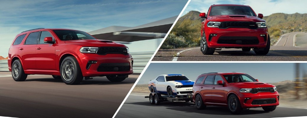 2021 Dodge Durango RT with Tow N Go package collage of exterior shot with red paint color option