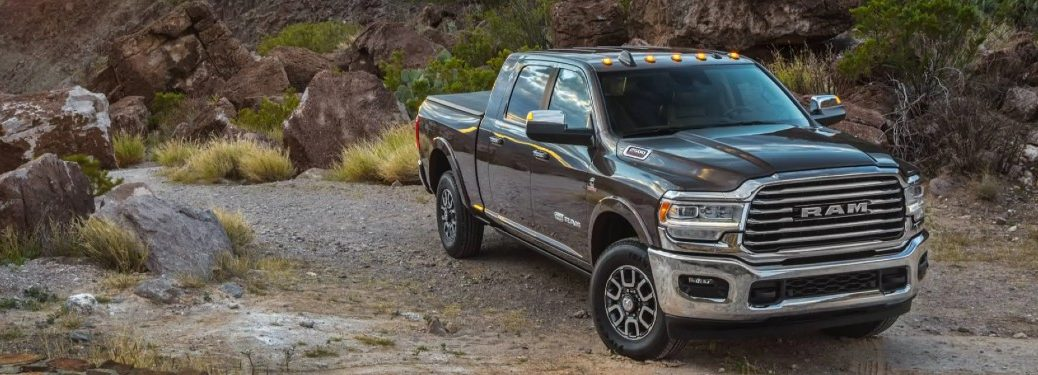 2021 Ram 2500 exterior front fascia parked on top of rocky hill