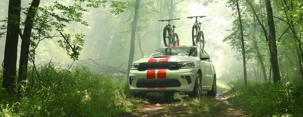 White 2021 Dodge Durango carrying 2 bicycles. What are the safety features?