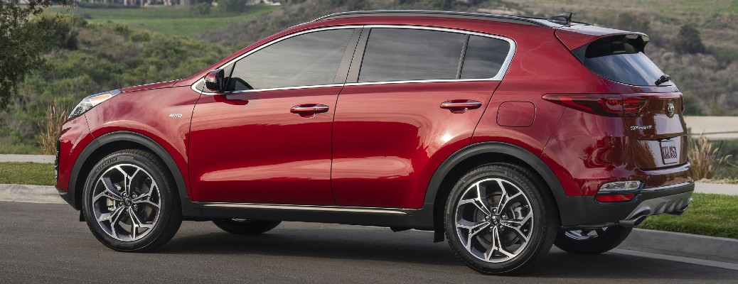 Side view of red 2021 Kia Sportage