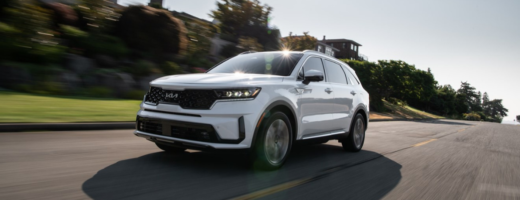 2022 Kia Sorento PHEV running on road surrounded by buildings