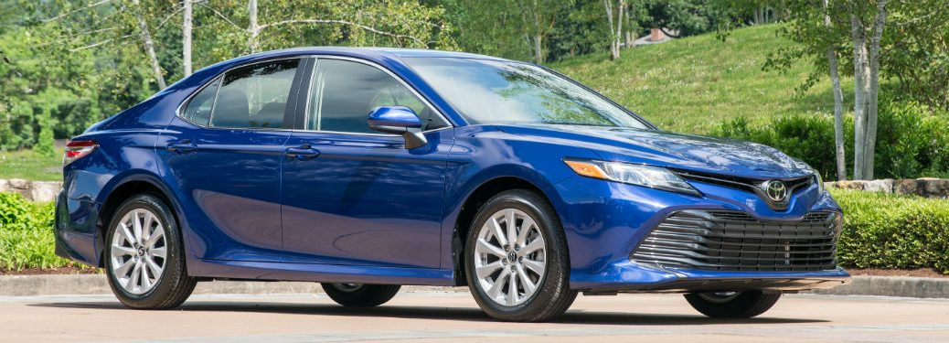 side view of a blue 2019 Toyota Camry