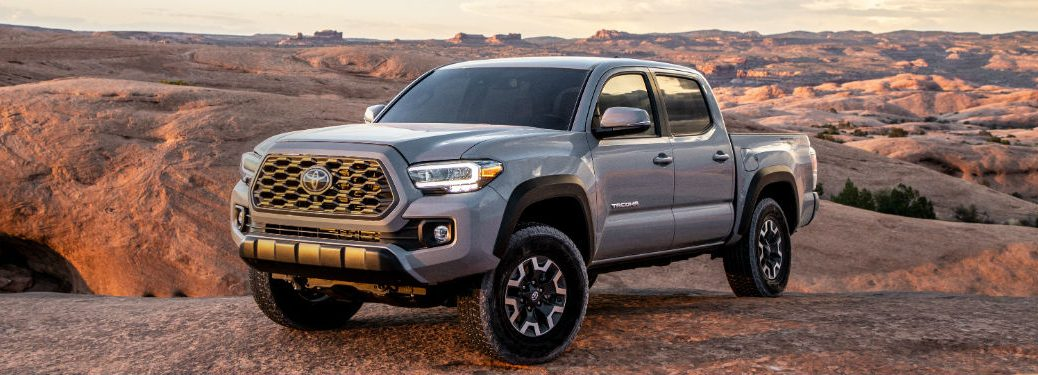 side view of a silver 2020 Toyota Tacoma