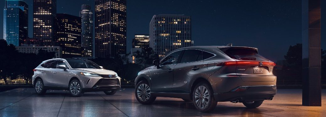 Two 2021 Toyota Venza crossovers parked next to each other