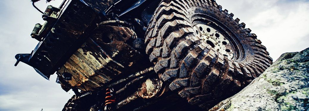 off-road truck suspension seen from beneath