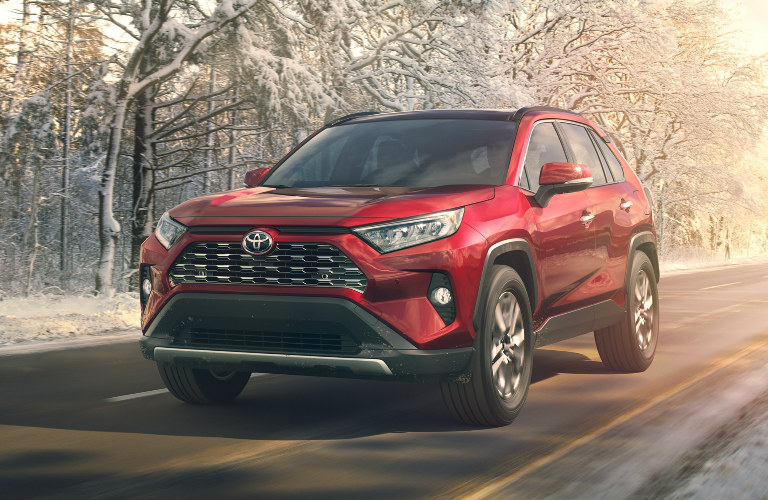 2019 Toyota RAV4 rear exterior and front fascia in red